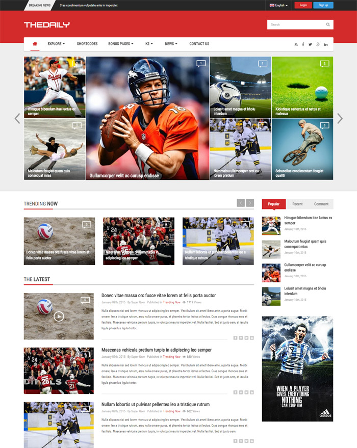 TheDaily - Responsive News Portal Joomla Template