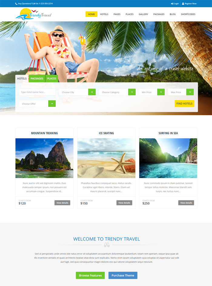Trendy Travel- Multipurpose Tour Package WP Theme