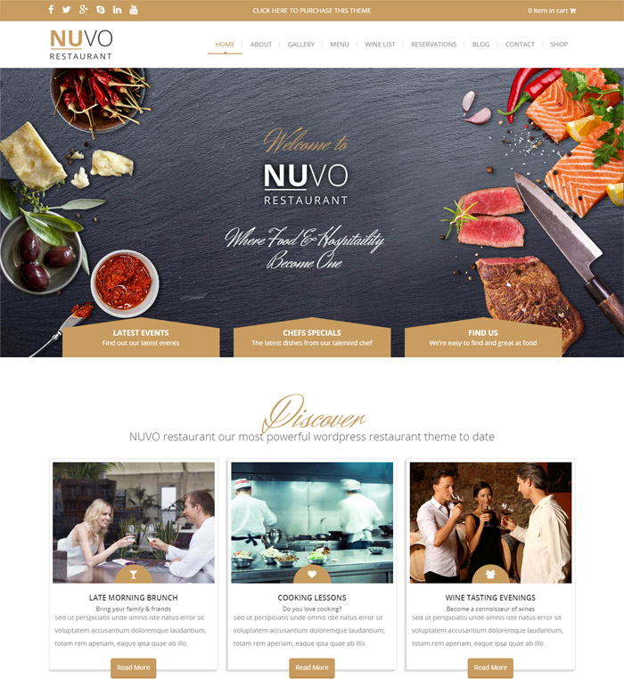 NUVO - Restaurant, Cafe & Bistro Drupal Theme
