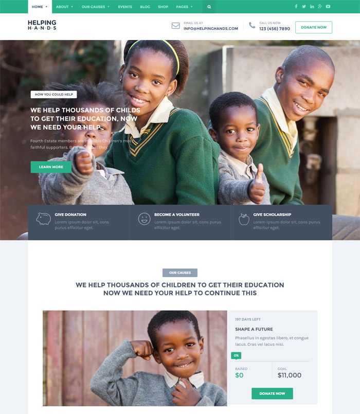 HelpingHands - Charity/Fundraising WordPress Theme