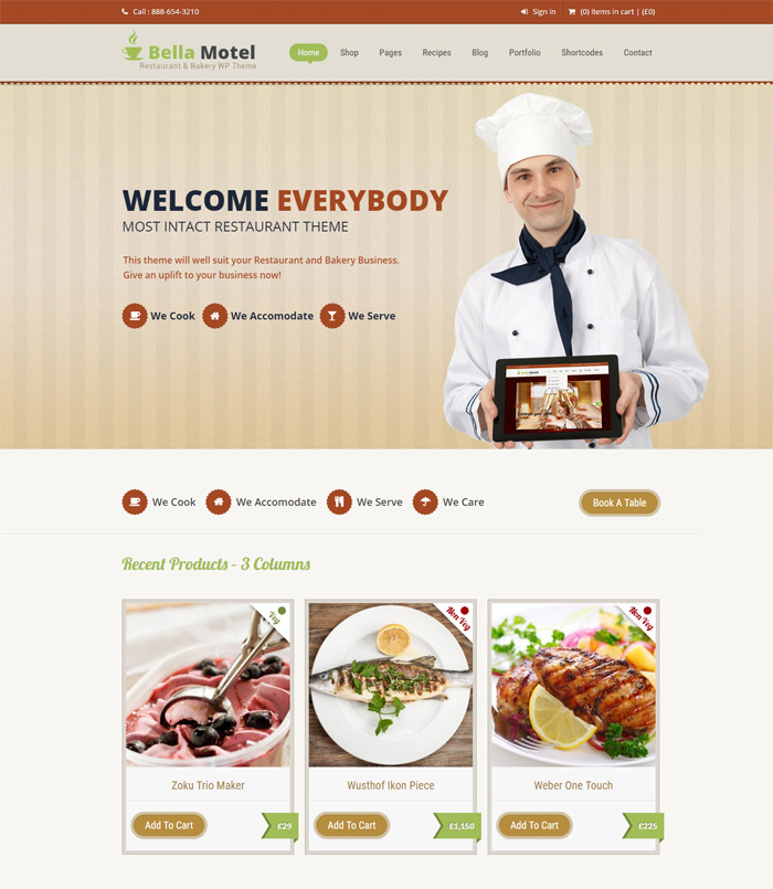food themes Bella Motel - Restaurant & Bakery WordPress Theme