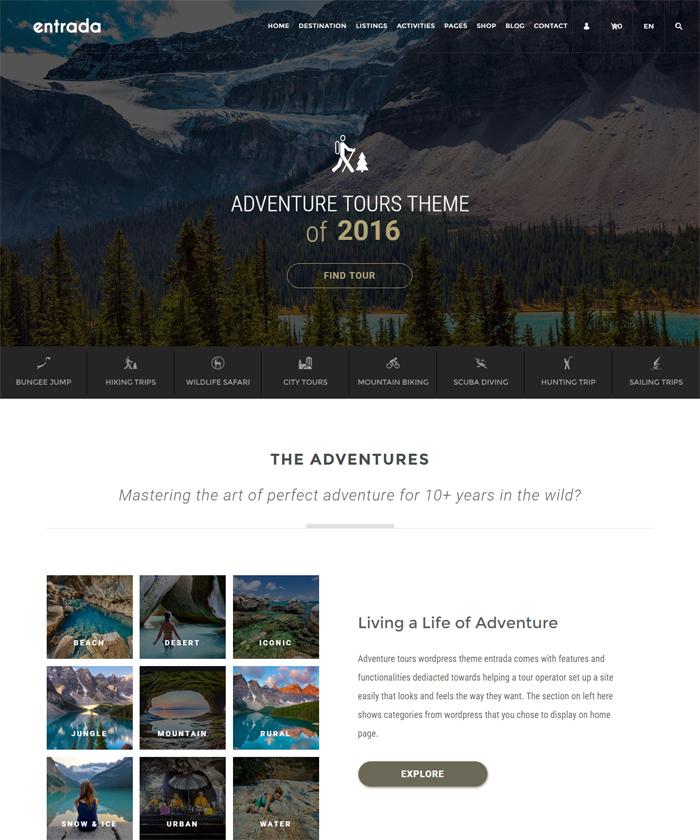 Tour Booking & Adventure Tour WordPress Theme - Entrada