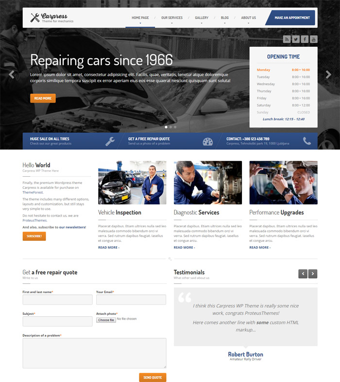 Press - WordPress Theme For Mechanic Workshops