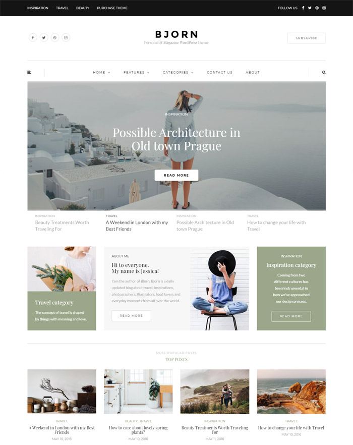 Bjorn - Personal WordPress Blog Theme