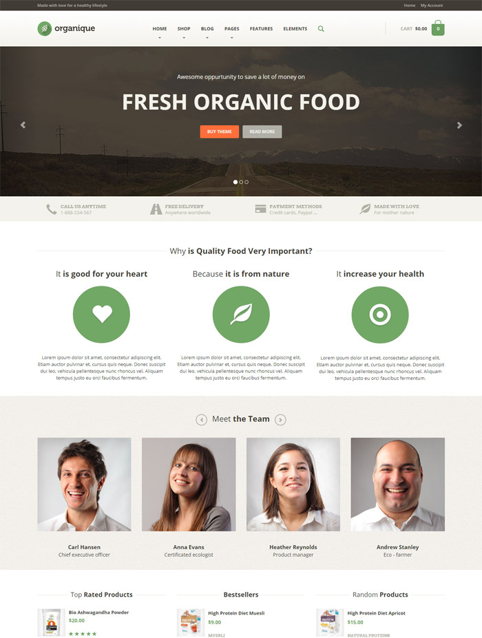 Organique - WordPress Theme For Healthy Food Shop