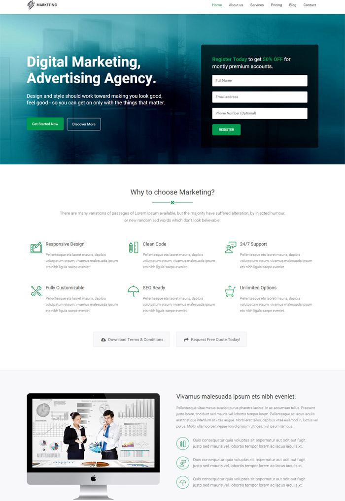 Marketing - Startup Landing Page Bootstrap WP