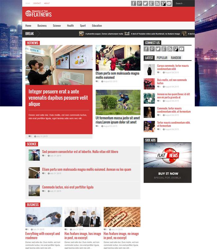 FlatNews - Magazine Joomla Template
