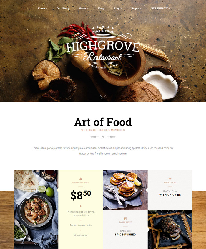 HG Restaurant - Responsive WordPress Theme