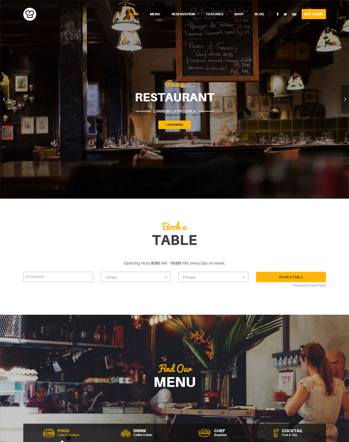WordPress Restaurant Theme - Resca
