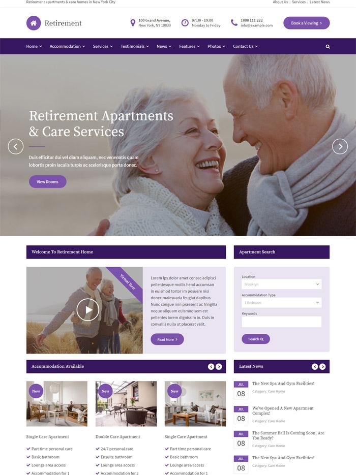 Retirement Care Home - WordPress Theme