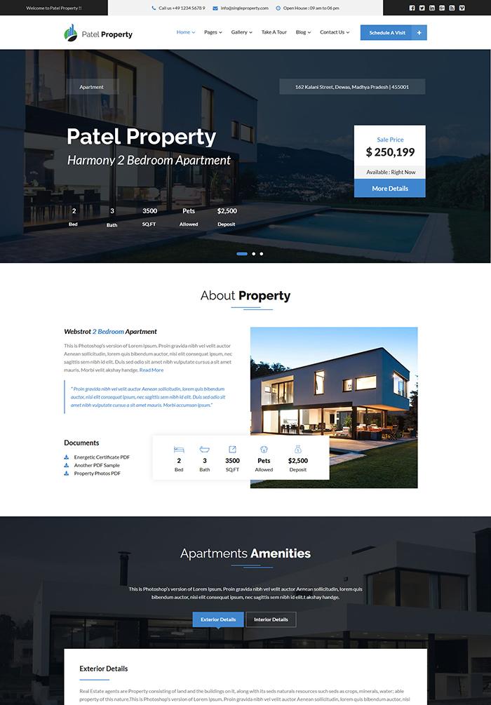 Patel - Single Property Real Estate WordPress Theme